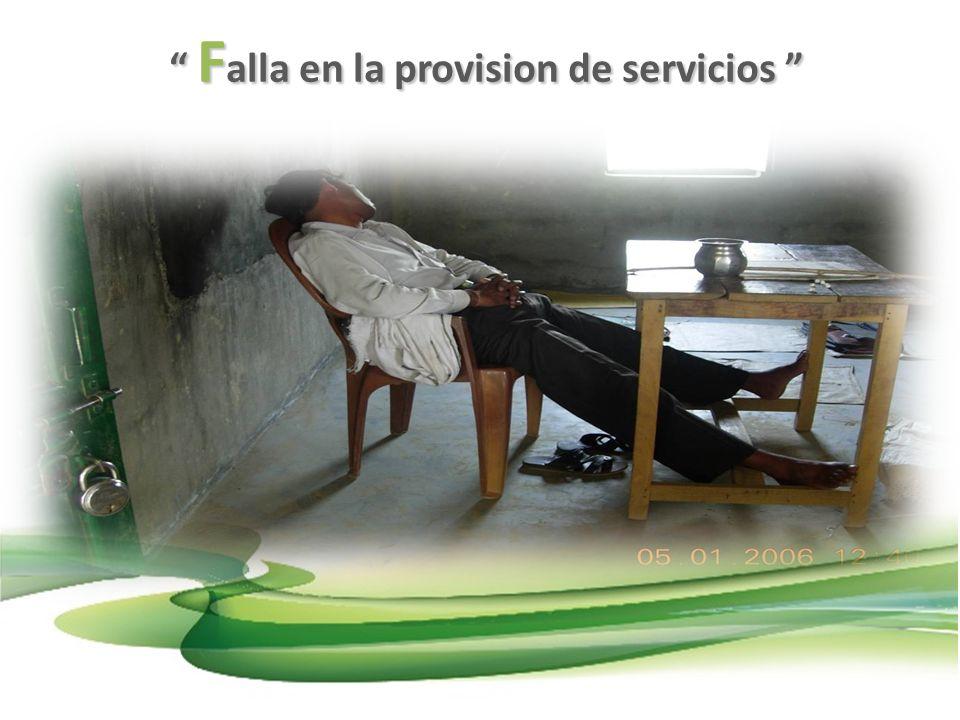 Falla en la provision de servicios