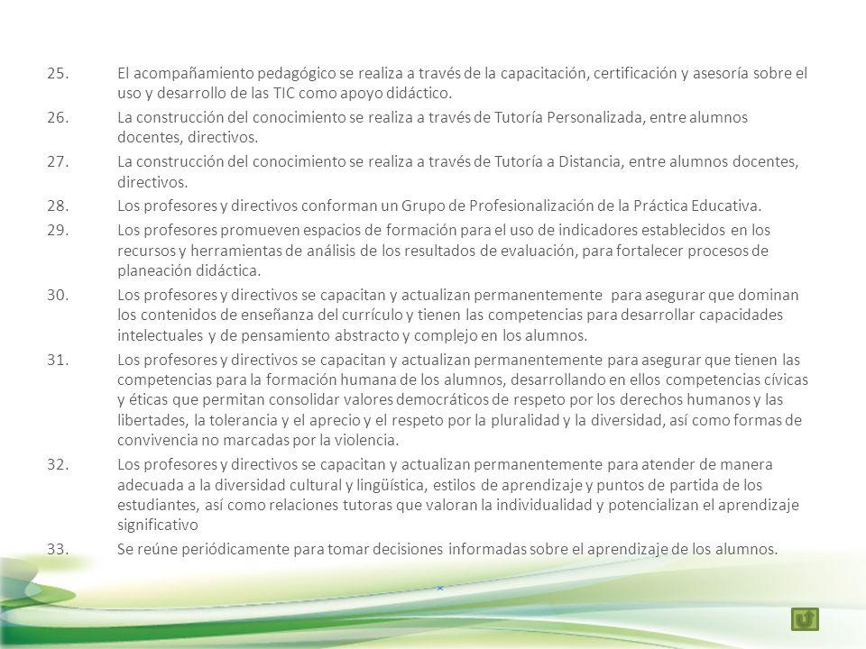 El acompañamiento pedagógico se realiza a través de la capacitación, certificación y asesoría sobre el uso y desarrollo de las TIC como apoyo didáctico.