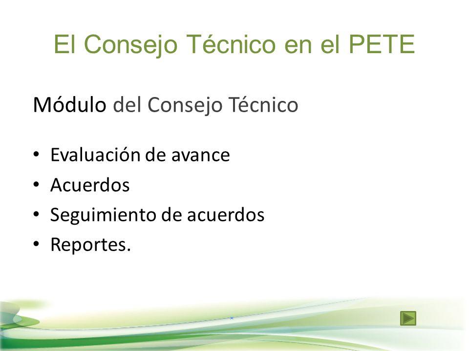 El Consejo Técnico en el PETE