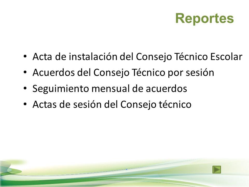 Reportes Acta de instalación del Consejo Técnico Escolar