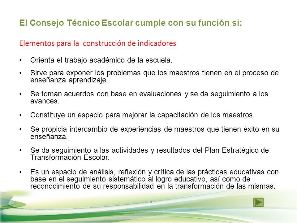 El Consejo Técnico Escolar cumple con su función si: