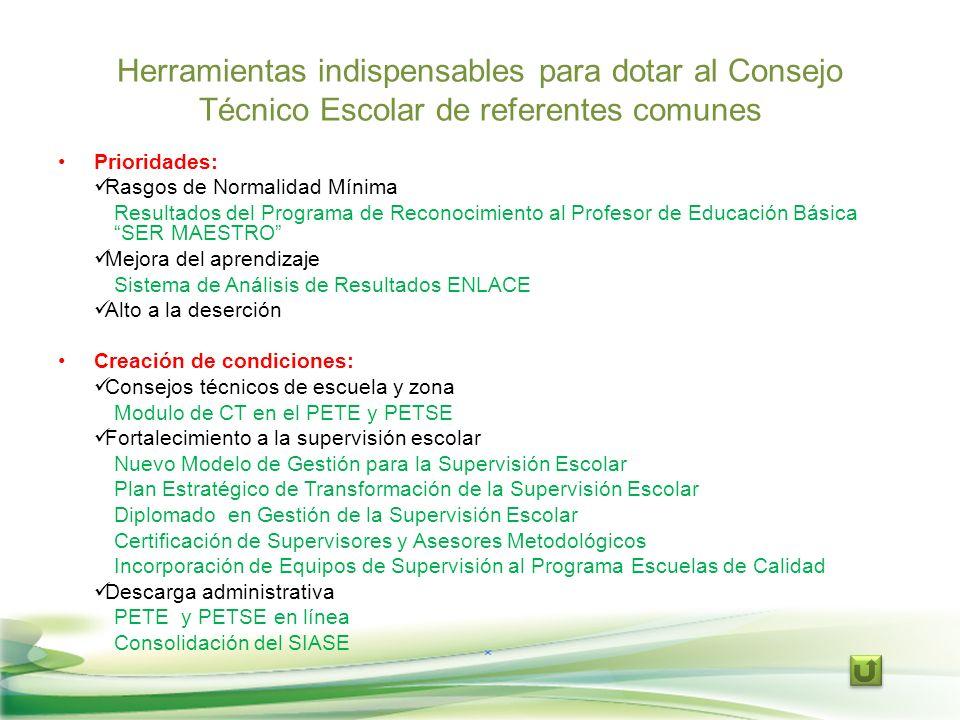 Herramientas indispensables para dotar al Consejo Técnico Escolar de referentes comunes