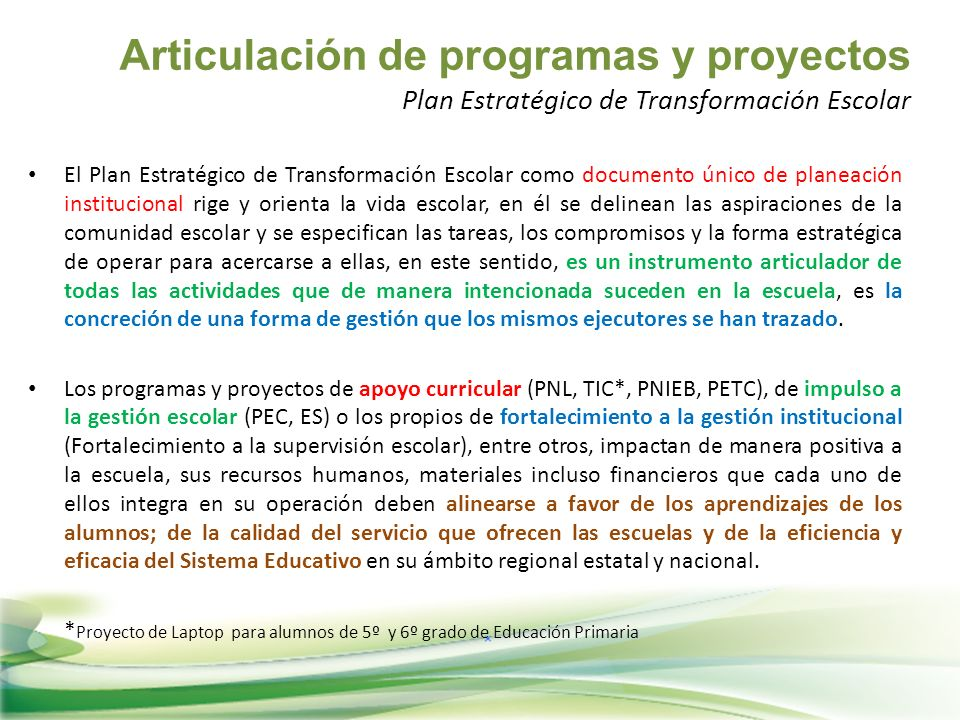 Articulación de programas y proyectos Plan Estratégico de Transformación Escolar