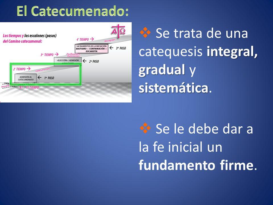 El Catecumenado: Se trata de una catequesis integral, gradual y sistemática.