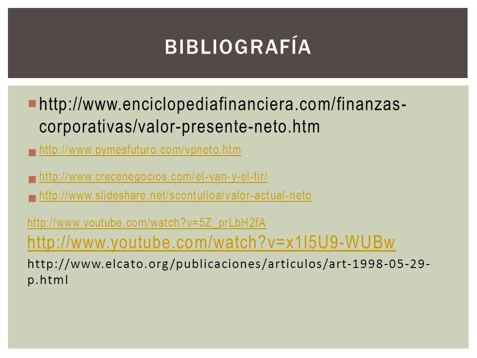 Bibliografía http://www.enciclopediafinanciera.com/finanzas-corporativas/valor-presente-neto.htm. http://www.pymesfuturo.com/vpneto.htm.