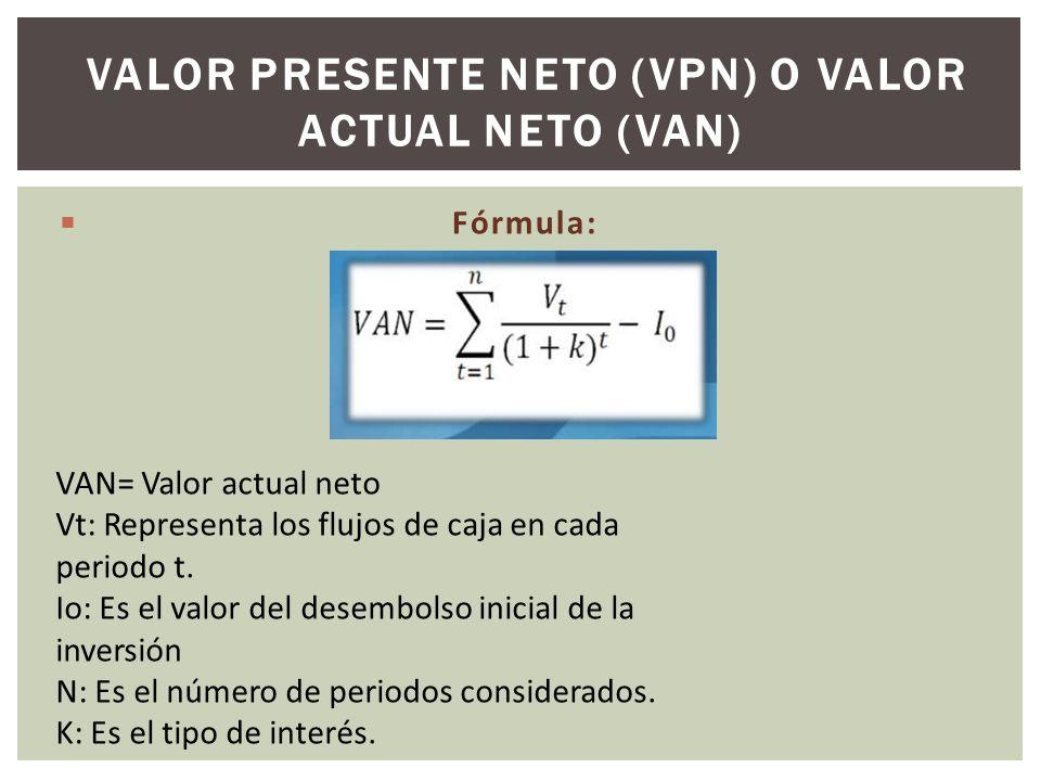 Valor Presente Neto (VPN) o Valor Actual Neto (VAN)