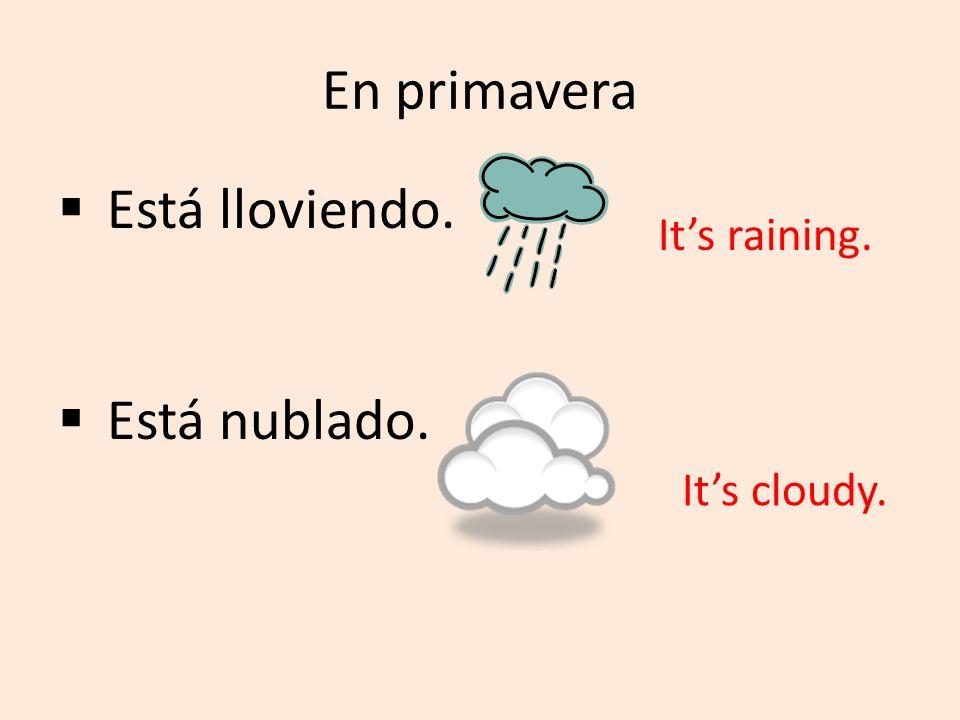 En primavera Está lloviendo. Está nublado. It's raining. It's cloudy.