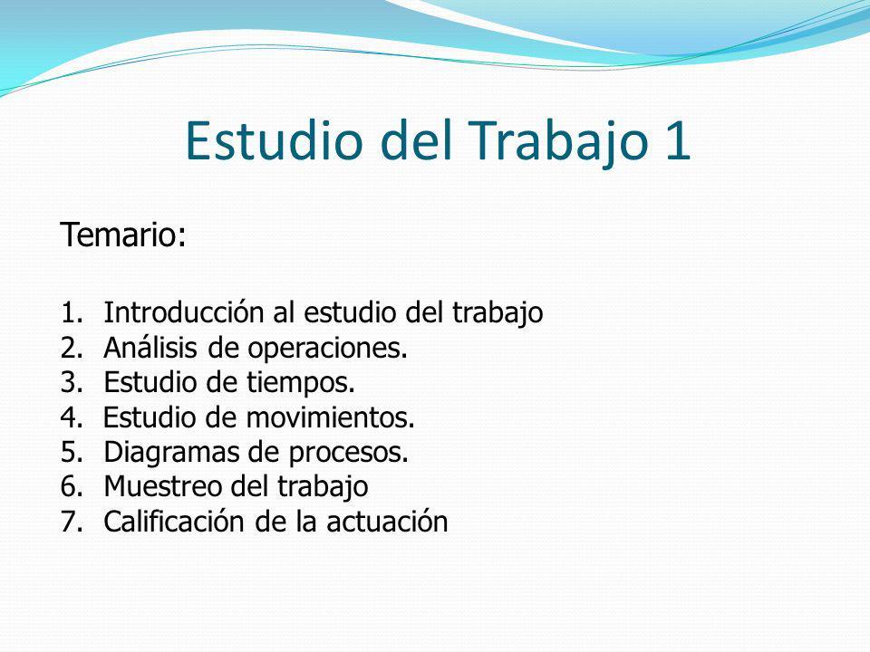 Estudio del Trabajo 1 Temario: Introducción al estudio del trabajo