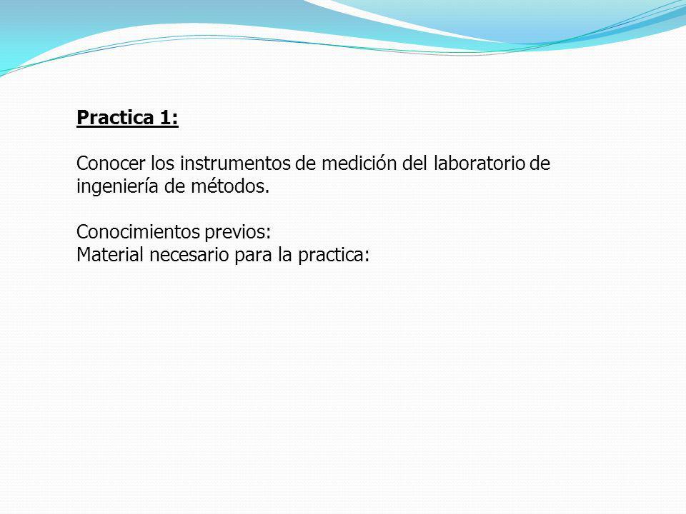 Practica 1: Conocer los instrumentos de medición del laboratorio de ingeniería de métodos. Conocimientos previos: