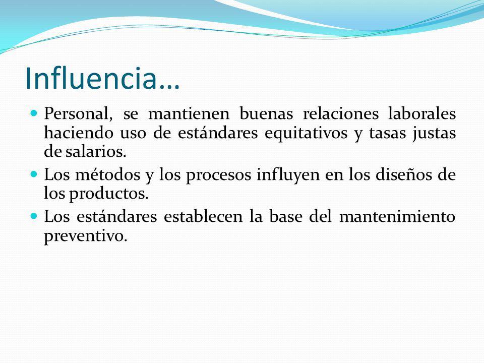 Influencia… Personal, se mantienen buenas relaciones laborales haciendo uso de estándares equitativos y tasas justas de salarios.