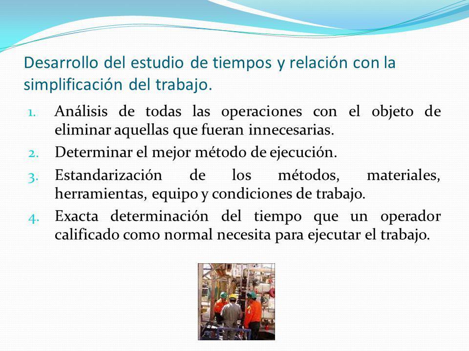 Desarrollo del estudio de tiempos y relación con la simplificación del trabajo.