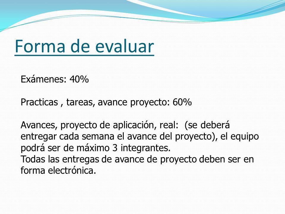 Forma de evaluar Exámenes: 40%