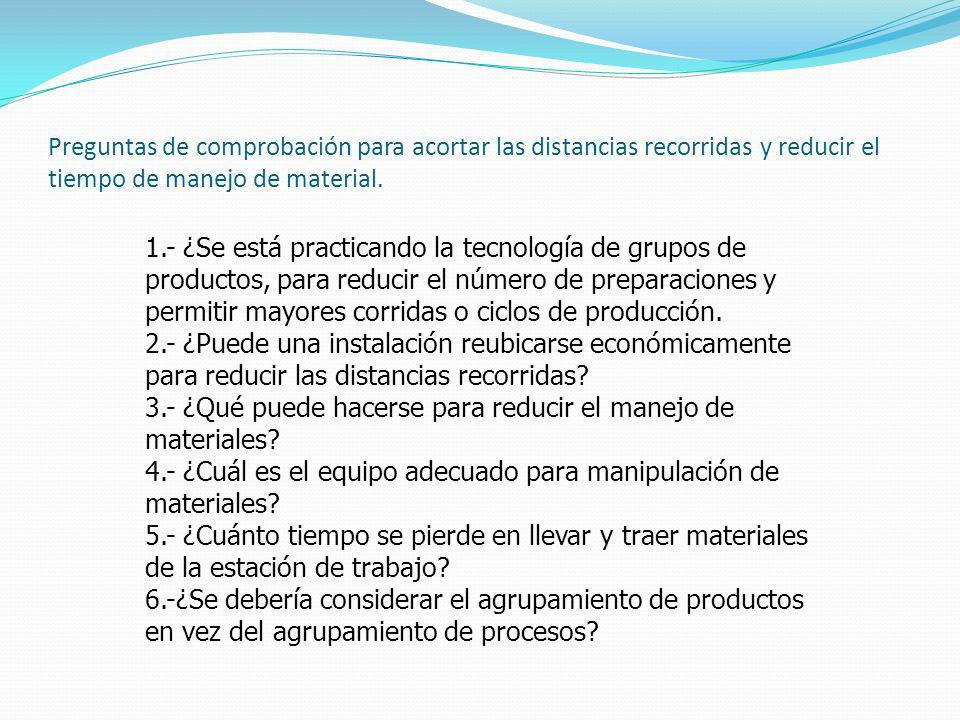 Preguntas de comprobación para acortar las distancias recorridas y reducir el tiempo de manejo de material.