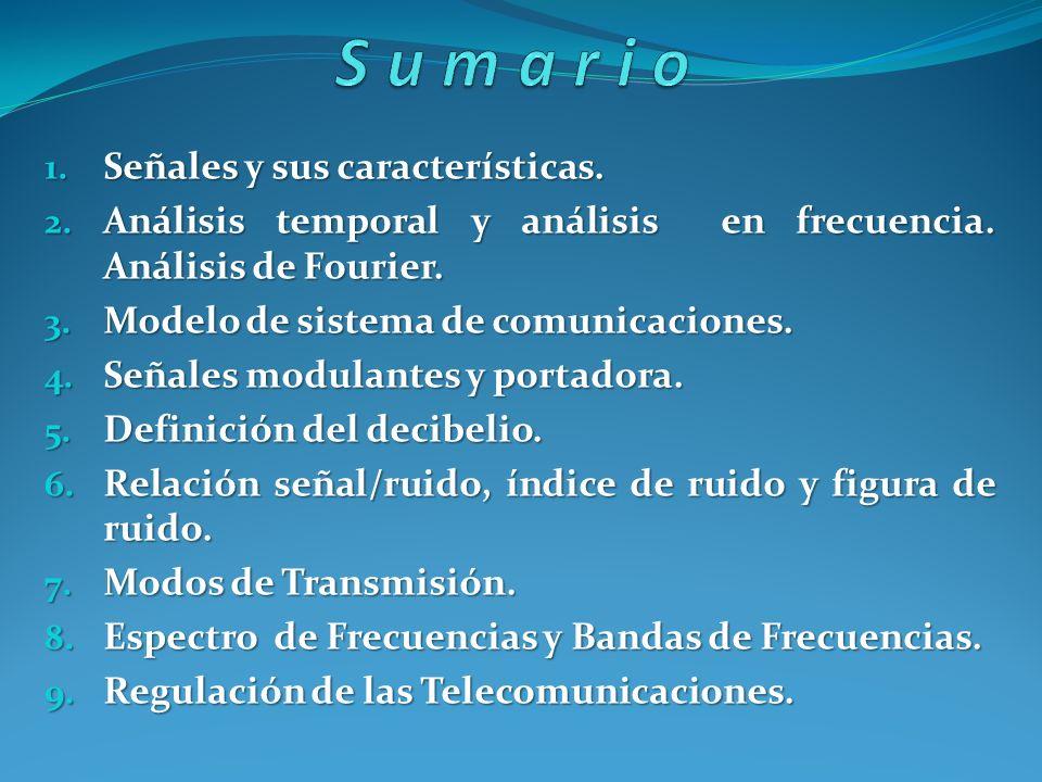 Sumario Señales y sus características.