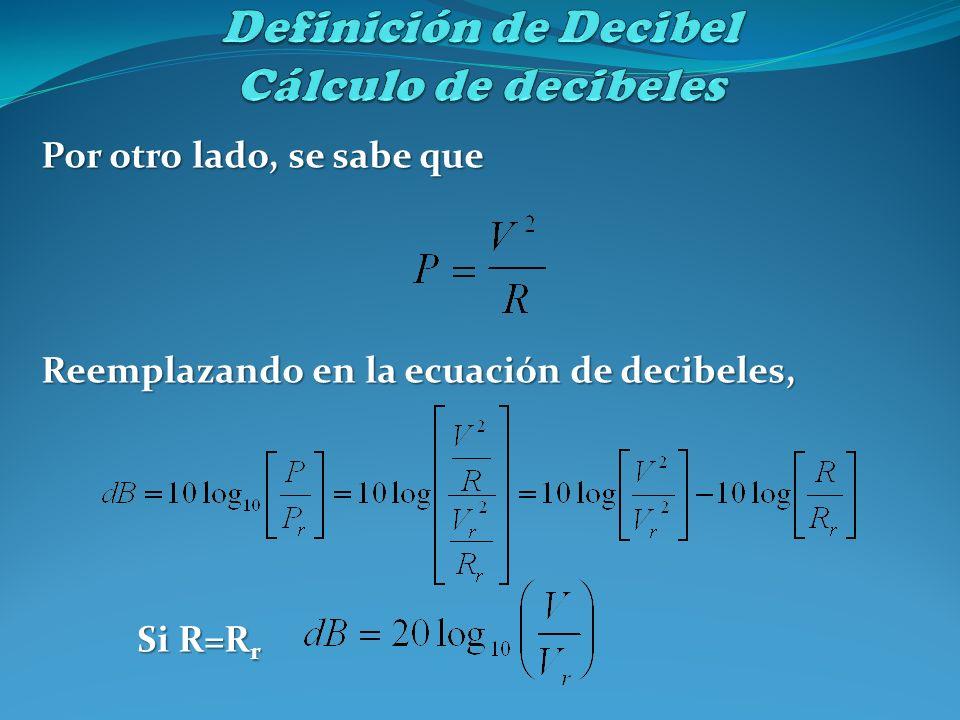 Definición de Decibel Cálculo de decibeles