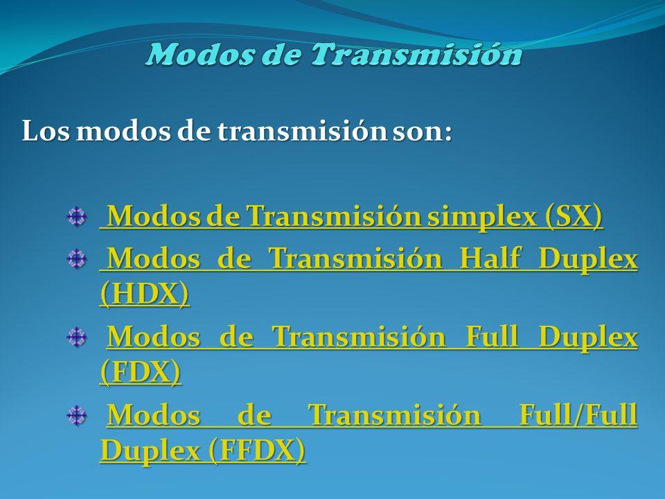 Modos de Transmisión Los modos de transmisión son: