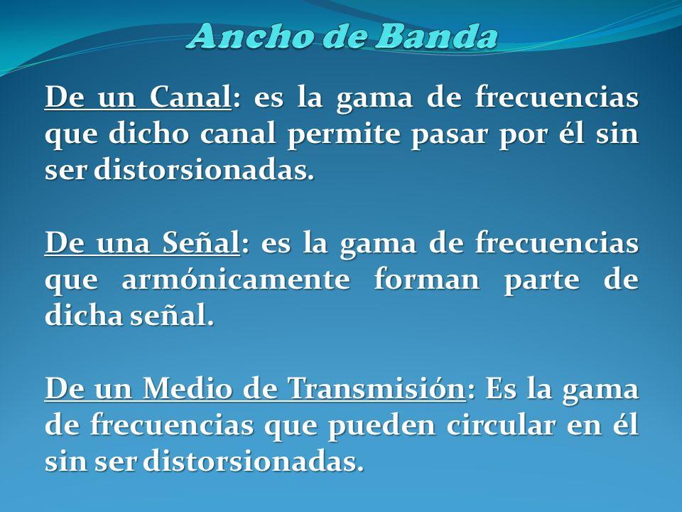 Ancho de Banda De un Canal: es la gama de frecuencias que dicho canal permite pasar por él sin ser distorsionadas.