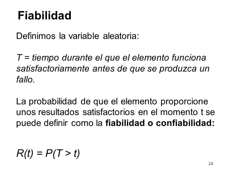 Fiabilidad R(t) = P(T > t) Definimos la variable aleatoria: