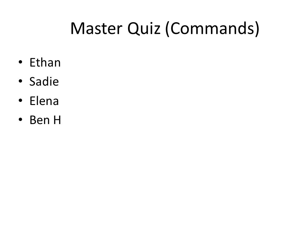 Master Quiz (Commands)