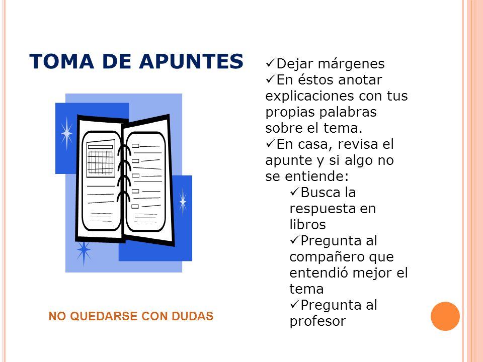 TOMA DE APUNTES Dejar márgenes