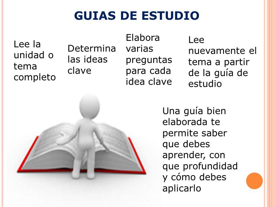 GUIAS DE ESTUDIO Elabora varias preguntas para cada idea clave