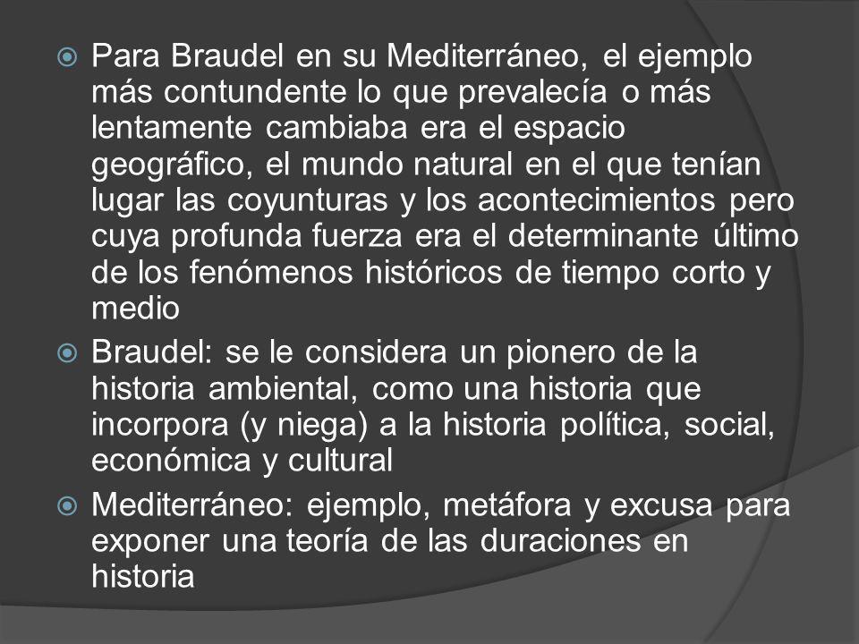 Para Braudel en su Mediterráneo, el ejemplo más contundente lo que prevalecía o más lentamente cambiaba era el espacio geográfico, el mundo natural en el que tenían lugar las coyunturas y los acontecimientos pero cuya profunda fuerza era el determinante último de los fenómenos históricos de tiempo corto y medio