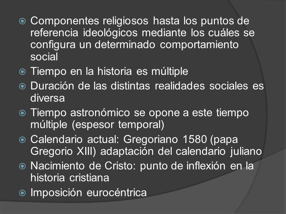 Componentes religiosos hasta los puntos de referencia ideológicos mediante los cuáles se configura un determinado comportamiento social