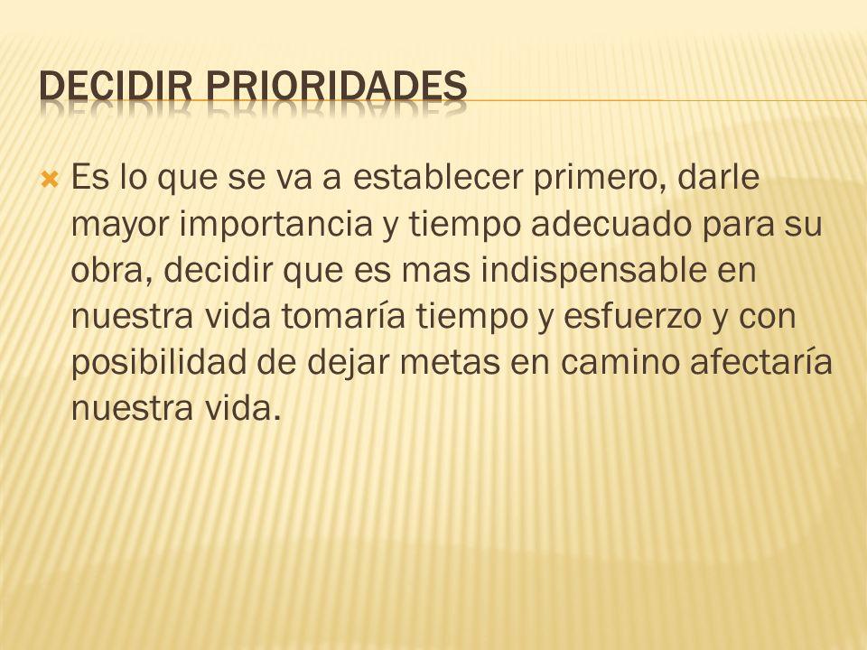 DECIDIR PRIORIDADES