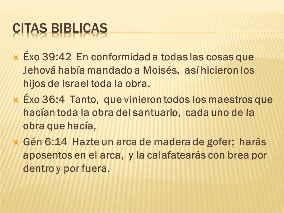 CITAS BIBLICAS Éxo 39:42 En conformidad a todas las cosas que Jehová había mandado a Moisés, así hicieron los hijos de Israel toda la obra.
