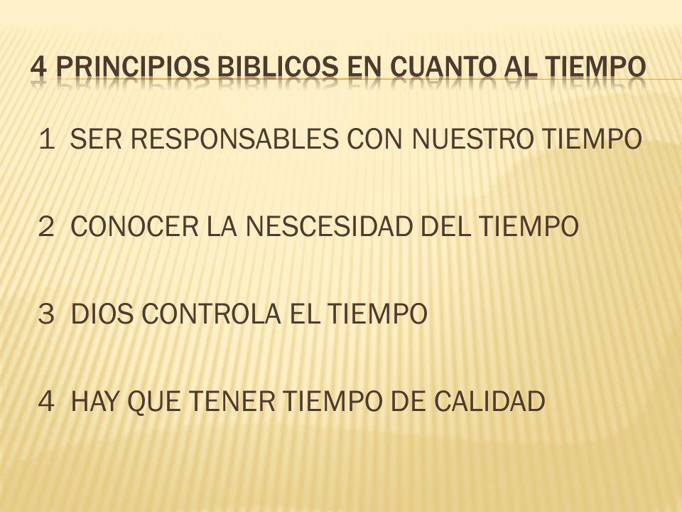 4 PRINCIPIOS BIBLICOS EN CUANTO AL TIEMPO