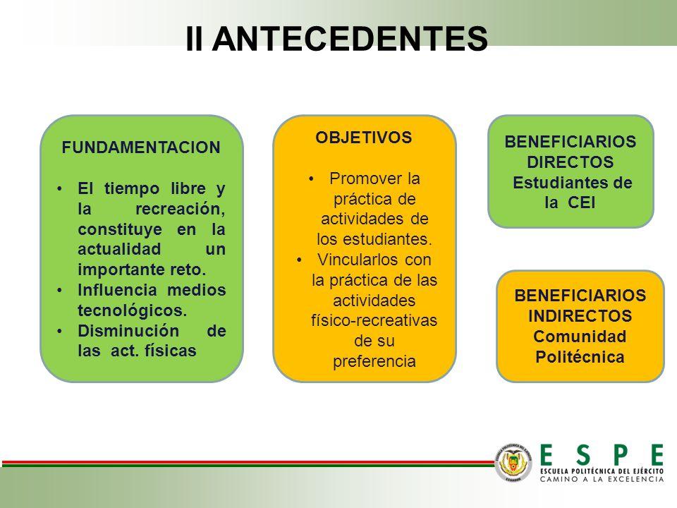 BENEFICIARIOS DIRECTOS BENEFICIARIOS INDIRECTOS Comunidad Politécnica