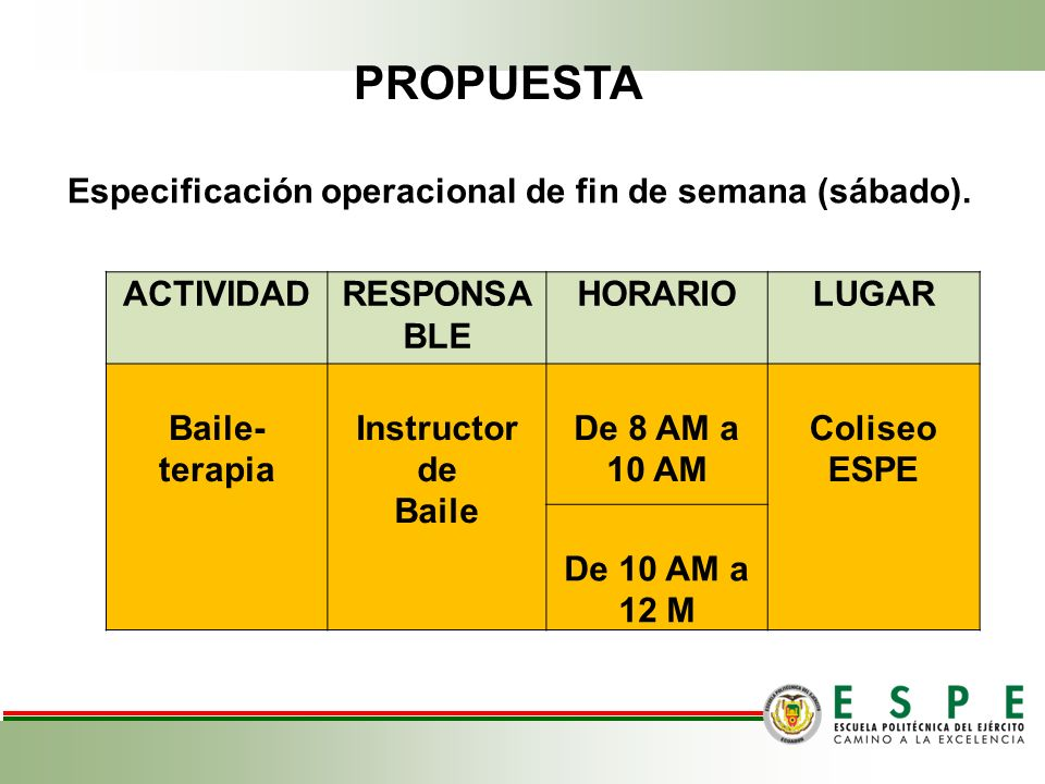 Especificación operacional de fin de semana (sábado).