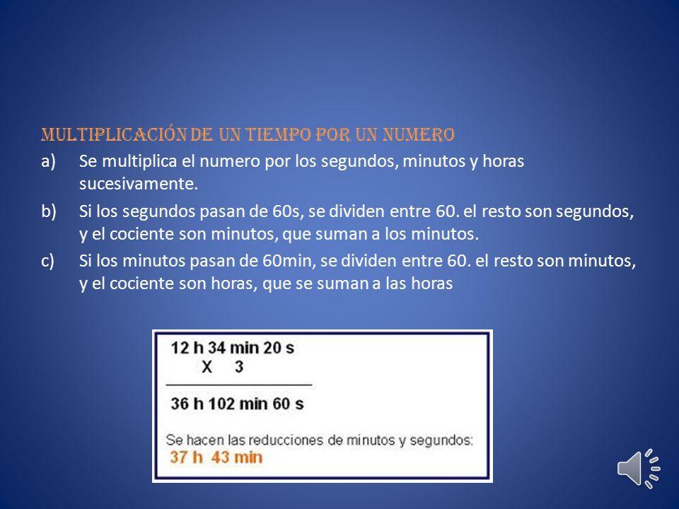 Multiplicación de un tiempo por un numero