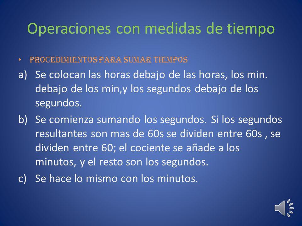 Operaciones con medidas de tiempo