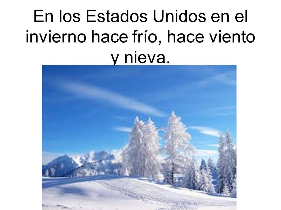 En los Estados Unidos en el invierno hace frío, hace viento y nieva.