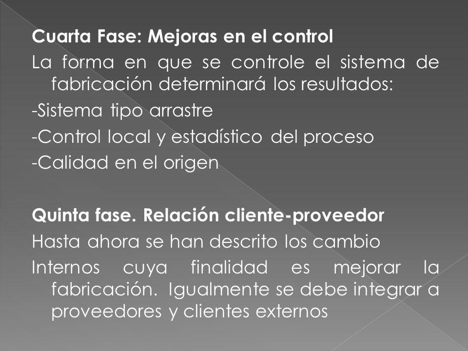 Cuarta Fase: Mejoras en el control La forma en que se controle el sistema de fabricación determinará los resultados: -Sistema tipo arrastre -Control local y estadístico del proceso -Calidad en el origen Quinta fase.