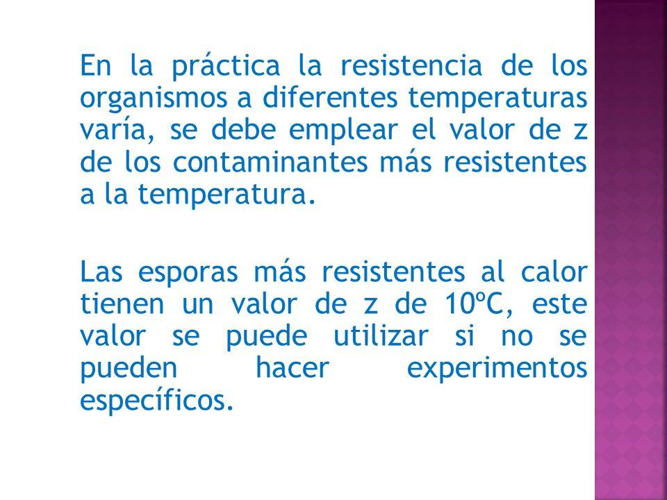 En la práctica la resistencia de los organismos a diferentes temperaturas varía, se debe emplear el valor de z de los contaminantes más resistentes a la temperatura.