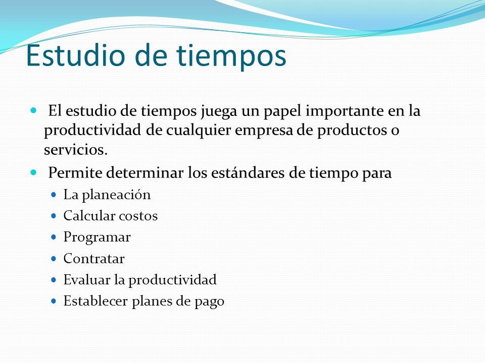 Estudio de tiempos El estudio de tiempos juega un papel importante en la productividad de cualquier empresa de productos o servicios.