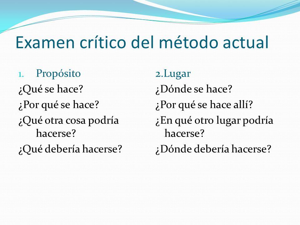 Examen crítico del método actual