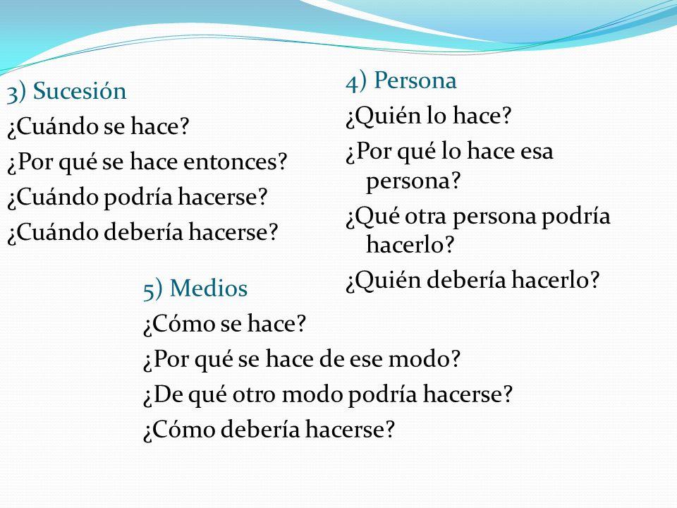 4) Persona ¿Quién lo hace ¿Por qué lo hace esa persona ¿Qué otra persona podría hacerlo ¿Quién debería hacerlo