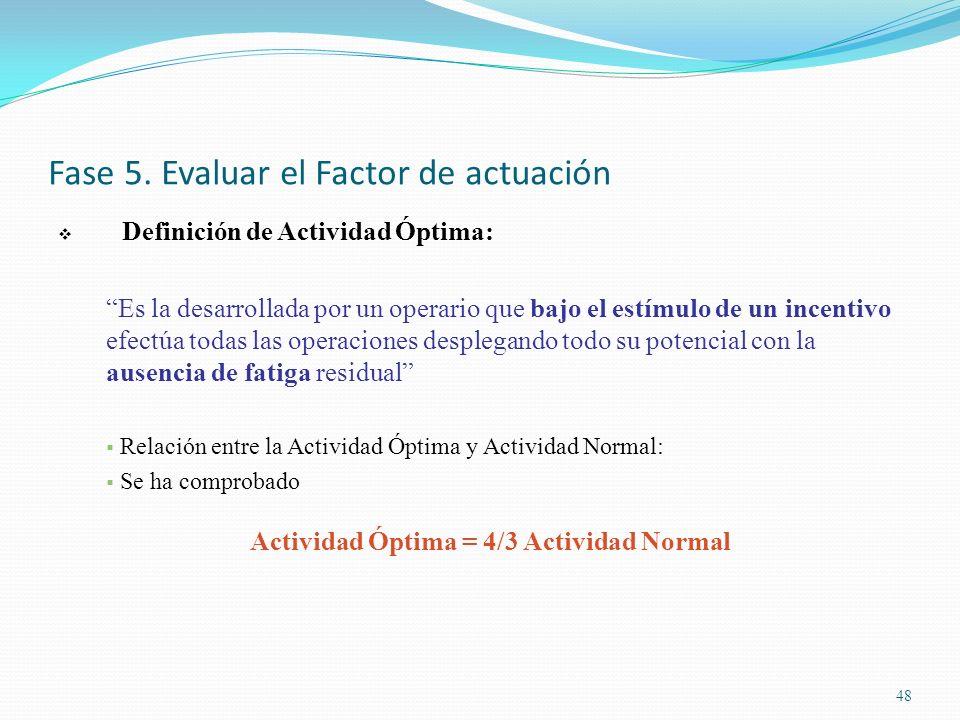 Fase 5. Evaluar el Factor de actuación