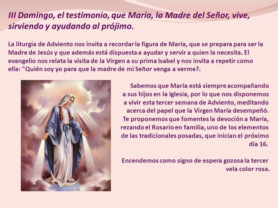 III Domingo, el testimonio, que María, la Madre del Señor, vive,