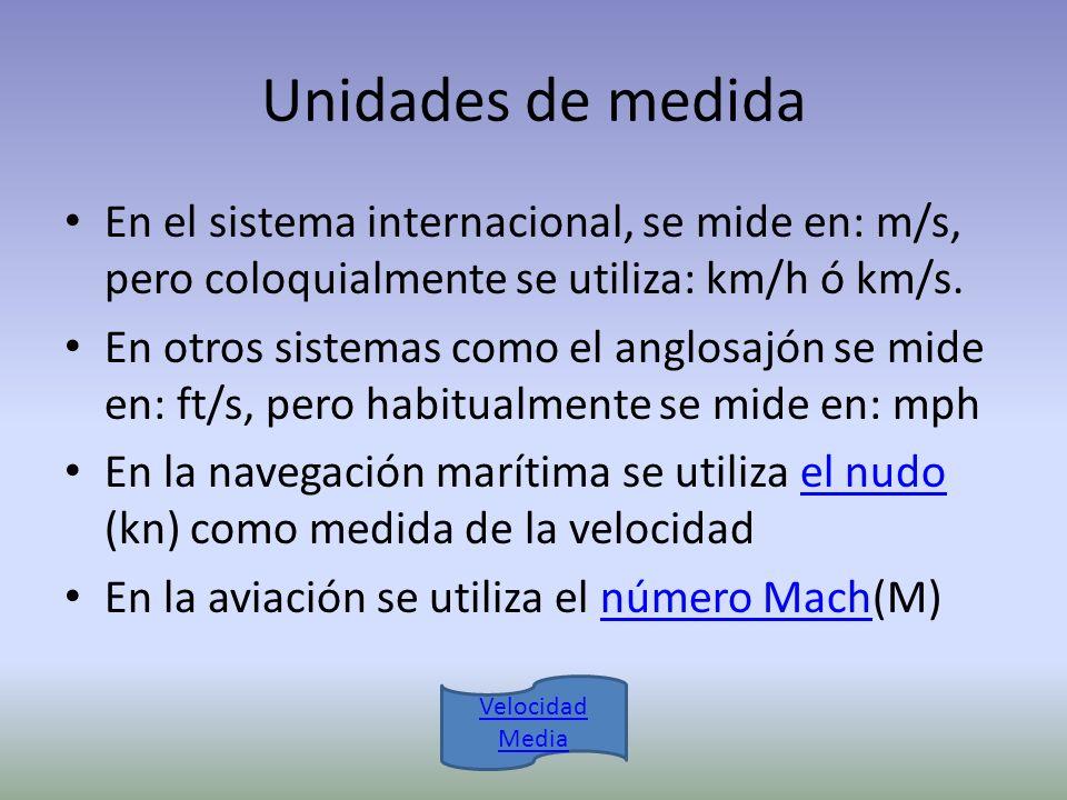 Unidades de medida En el sistema internacional, se mide en: m/s, pero coloquialmente se utiliza: km/h ó km/s.