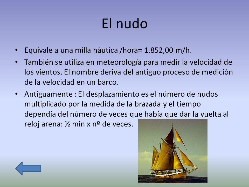 El nudo Equivale a una milla náutica /hora= 1.852,00 m/h.