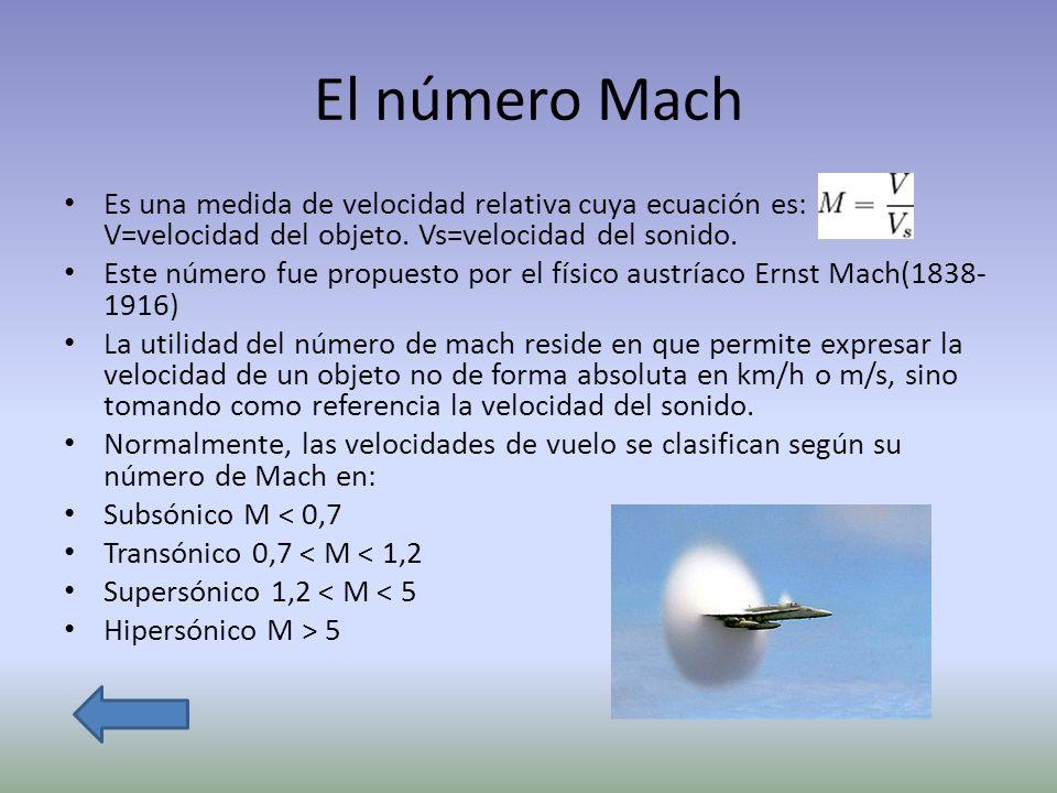 El número Mach Es una medida de velocidad relativa cuya ecuación es: V=velocidad del objeto. Vs=velocidad del sonido.