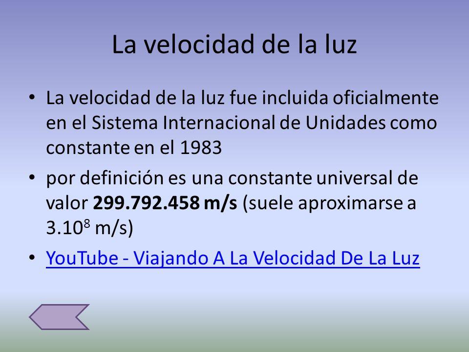La velocidad de la luz La velocidad de la luz fue incluida oficialmente en el Sistema Internacional de Unidades como constante en el 1983.
