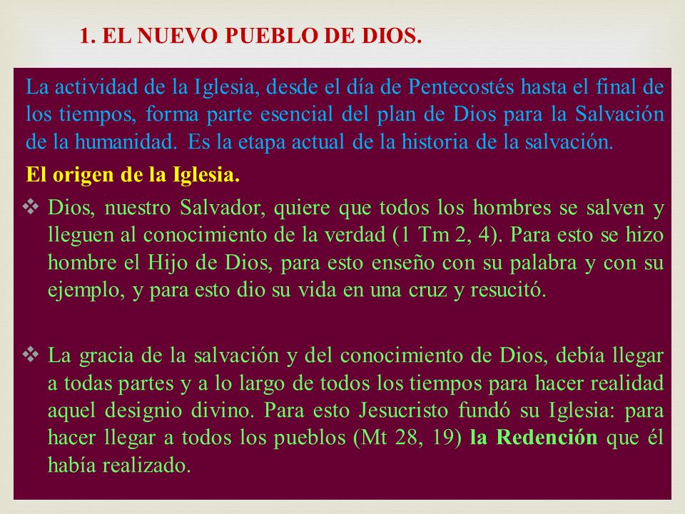1. EL NUEVO PUEBLO DE DIOS.