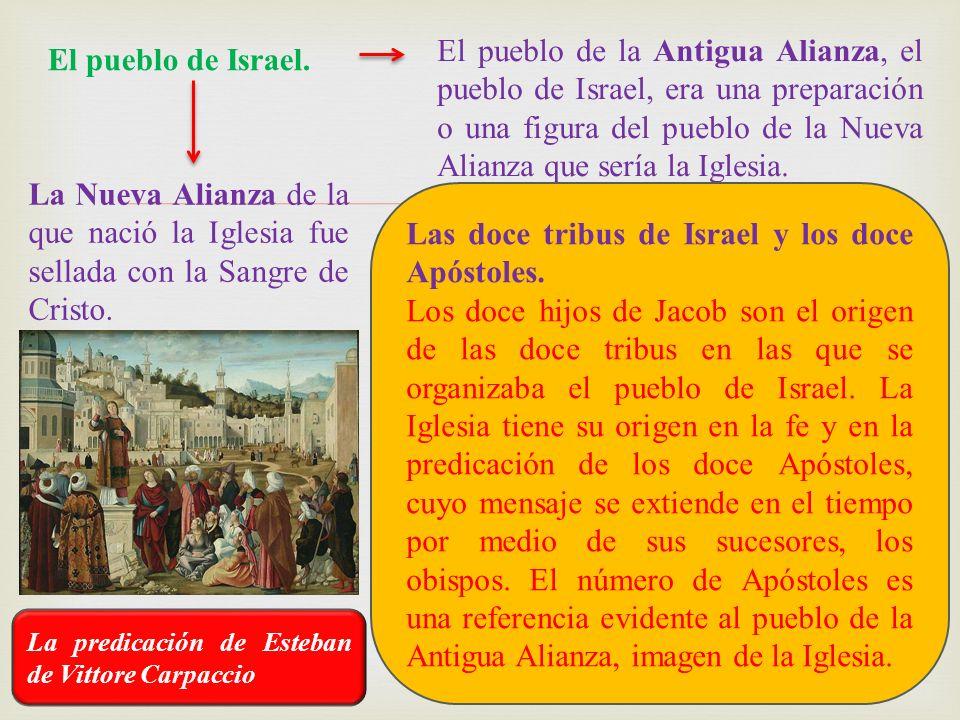 Las doce tribus de Israel y los doce Apóstoles.