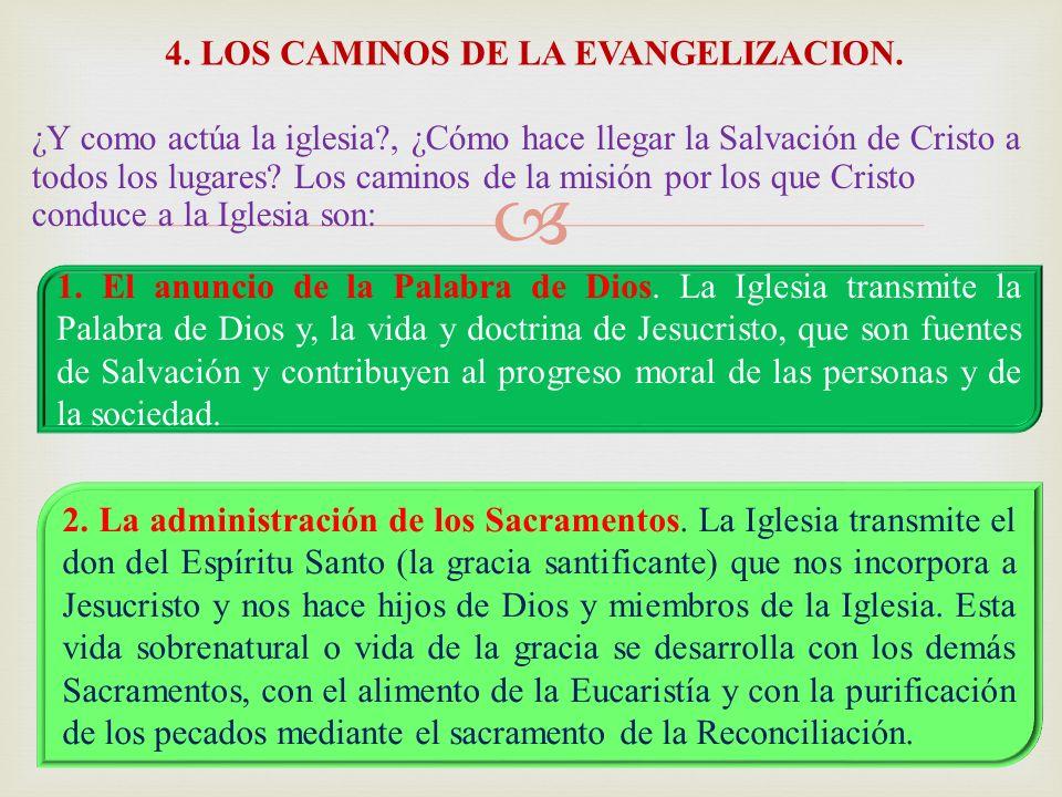 4. LOS CAMINOS DE LA EVANGELIZACION.