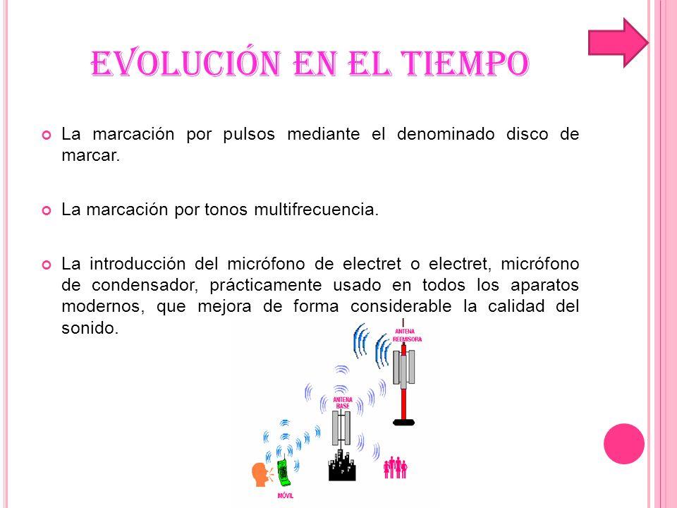 EVOLUCIÓN EN EL TIEMPO La marcación por pulsos mediante el denominado disco de marcar. La marcación por tonos multifrecuencia.